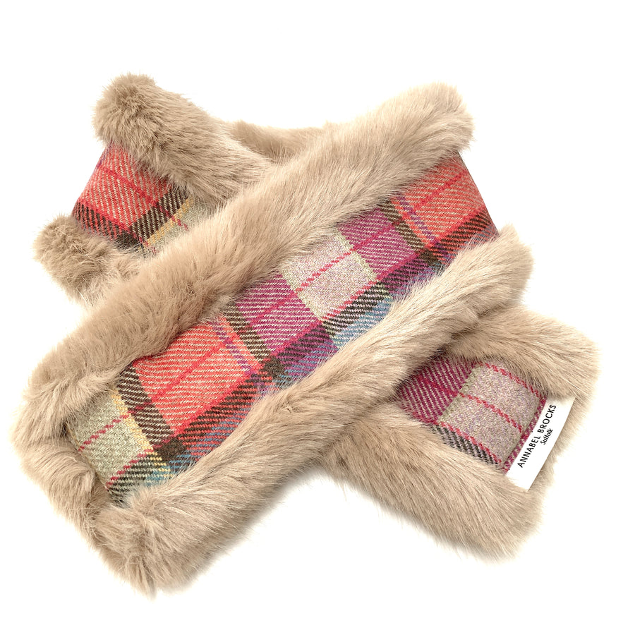 Beige and multicoloured merino wool/ tweed reversible neck warmer - Annabel Brocks