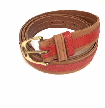 Leather Contrast Belts - Tan and red - Annabel Brocks