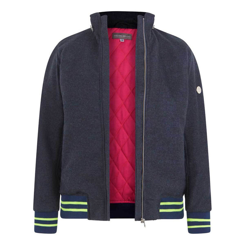 The Bomber - navy with navy and neon yellow - Annabel Brocks
