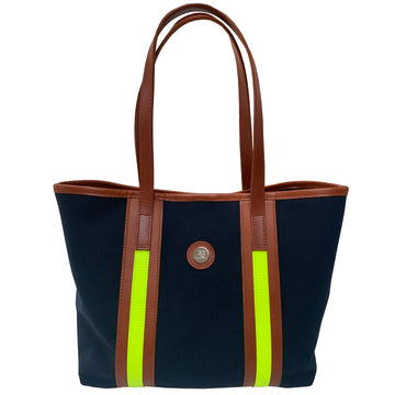 Southwold Rainbow navy and neon yellow canvas tote - Limited Edition - Annabel Brocks