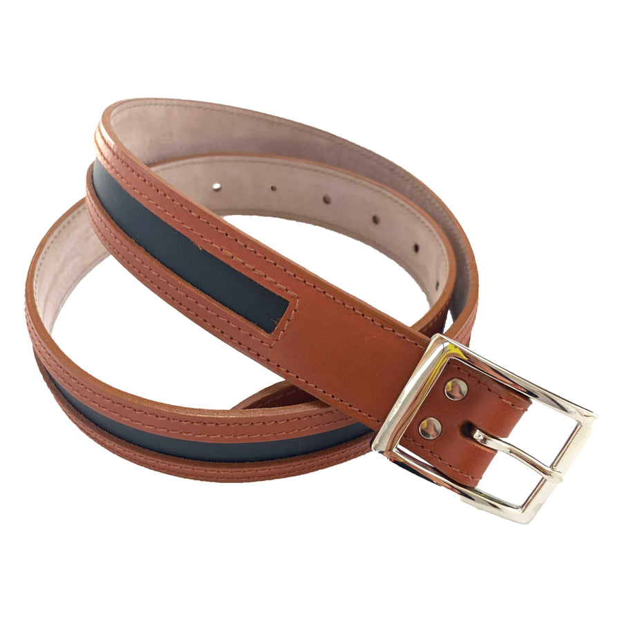 Leather Contrast Belts - Tan and Navy - Annabel Brocks
