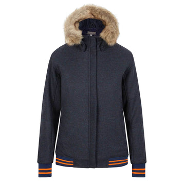 The Bomber'- navy with navy and neon orange - Annabel Brocks