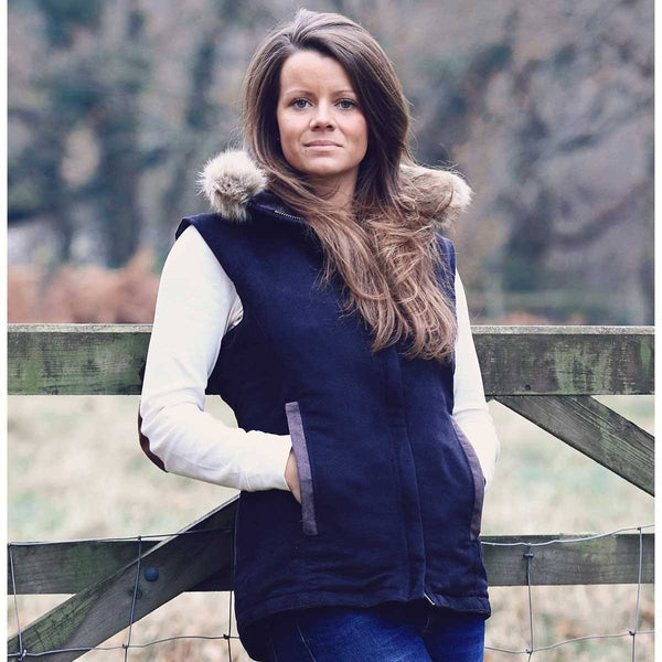 Navy Faux Suede Pelham Gilet with Removable Faux Fur Collar - Annabel Brocks