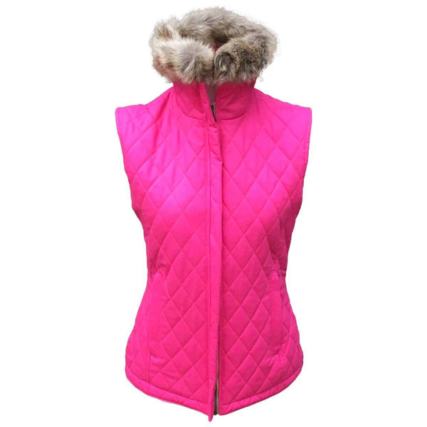 Pink Quilted Cotton Gilet with Faux Fur Collar - Annabel Brocks