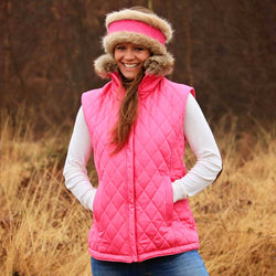 Pink Quilted Pelham Cotton Gilet with Faux Fur Collar - Annabel Brocks