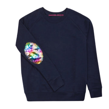 Navy with sequin rainbow elbow patch - Annabel Brocks