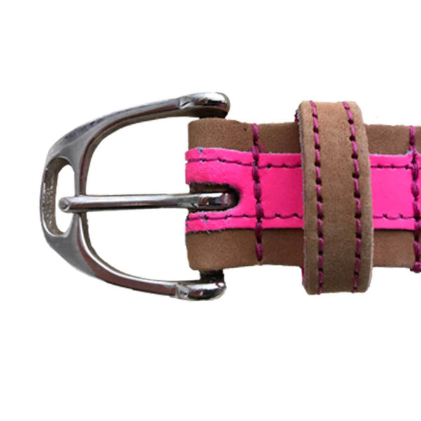 Leather Contrast Belts - Tan and Neon Pink