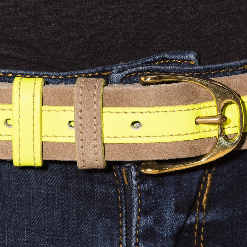 Leather Contrast Belts - Tan and Neon Yellow SALE NOW - Annabel Brocks