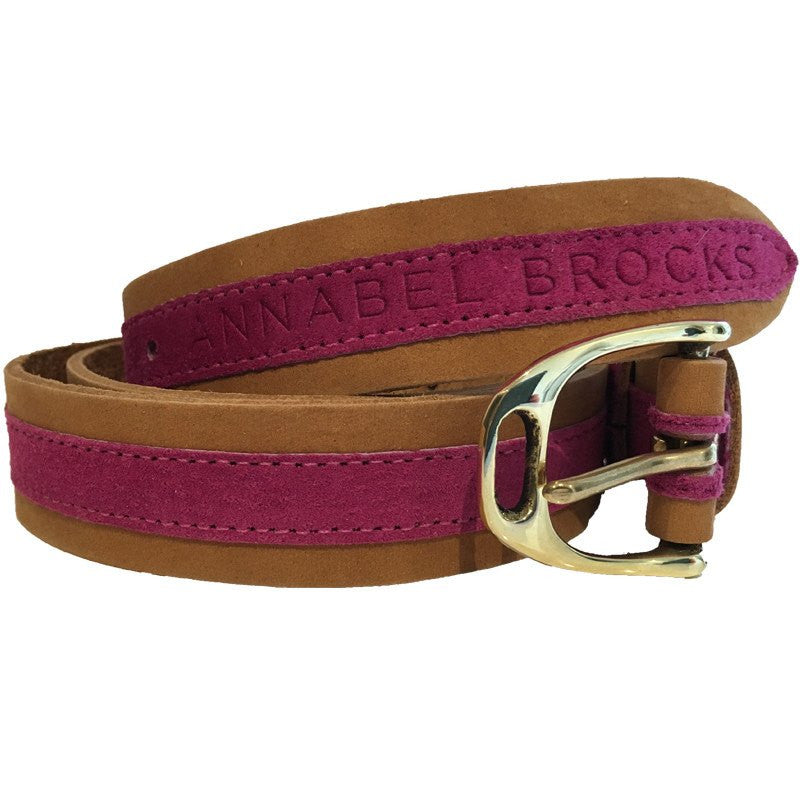 Leather and suede contrast fuchsia belt - SECONDS - Annabel Brocks