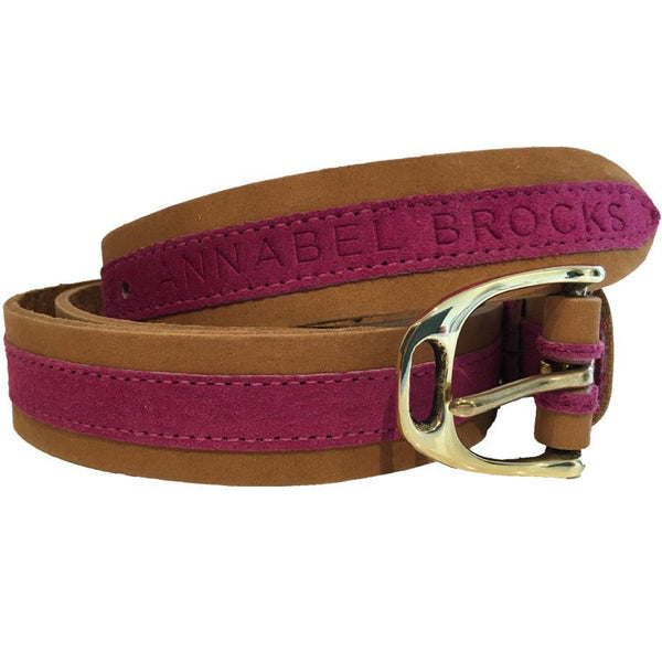 Leather and suede contrast fuchsia belt