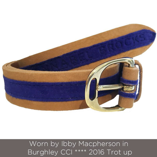 Tan Leather and Cobalt Blue Suede contrast belt - Annabel Brocks