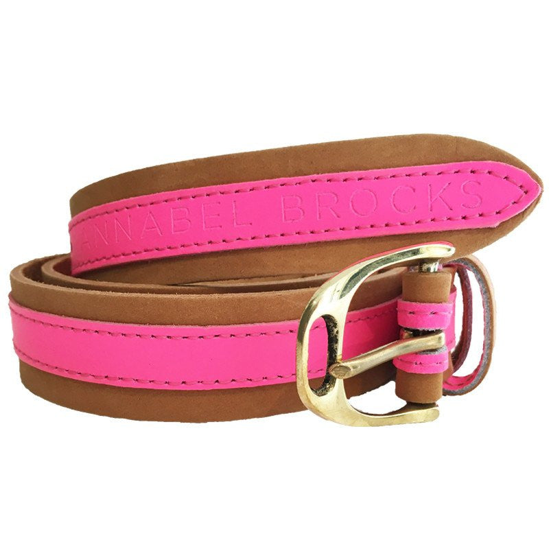 Leather Contrast Belts - Tan and Neon Pink - Annabel Brocks