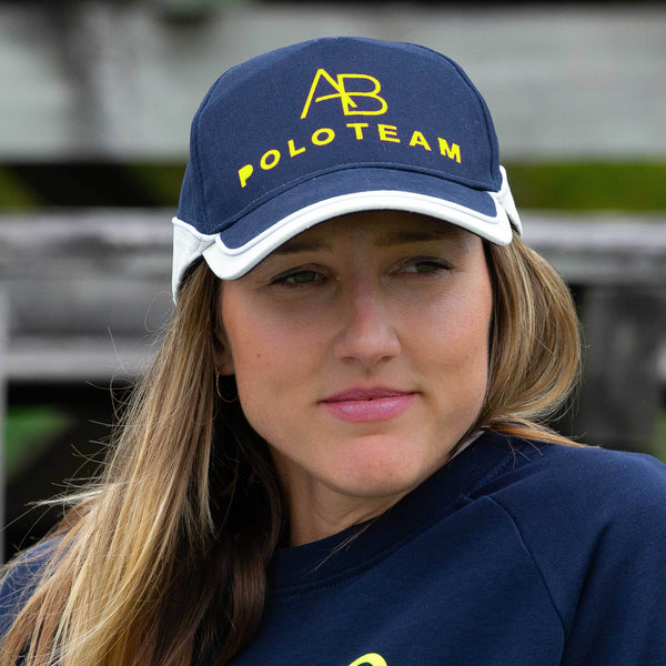 AB POLO navy baseball cap with neon yellow - Annabel Brocks