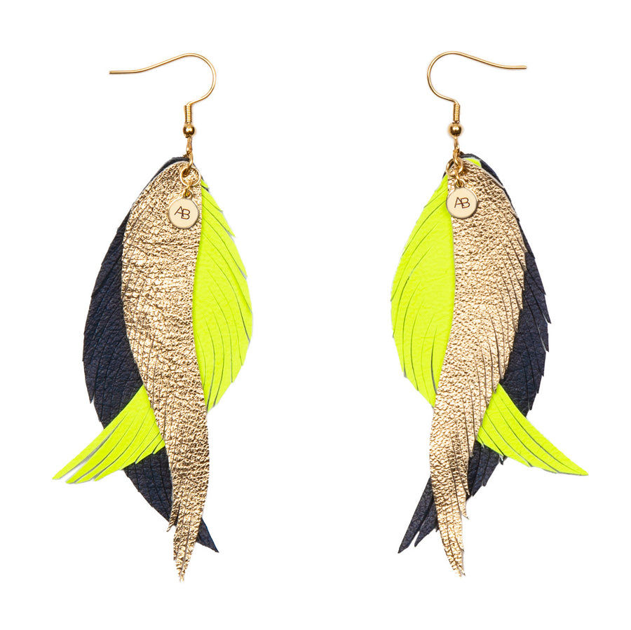 Leather Angel Wings earrings gold, neon yellow and navy - Annabel Brocks