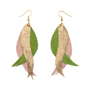 Leather Angel Wings earrings gold, green and soft pink - Annabel Brocks