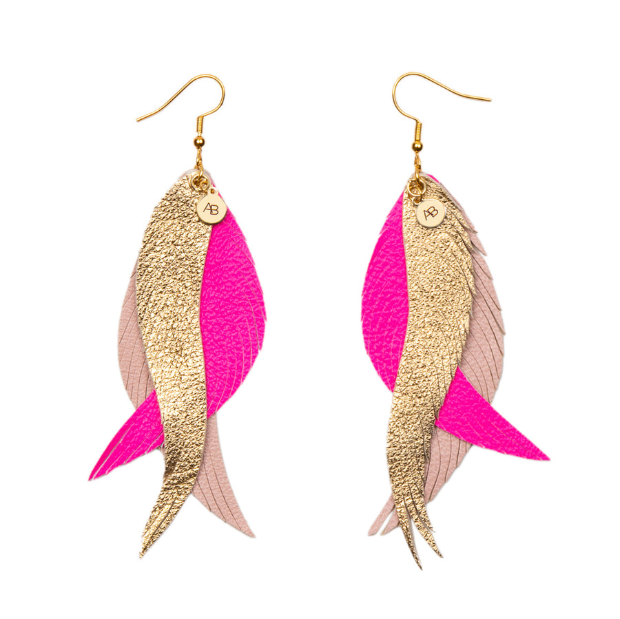 Leather Angel Wings earrings gold, neon pink and soft pink - Annabel Brocks