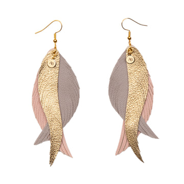 Leather Angel Wings earrings gold, grey and soft pink - Annabel Brocks