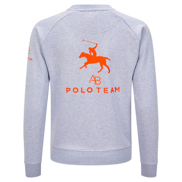 AB Polo sweatshirt - soft blue with neon orange - Annabel Brocks