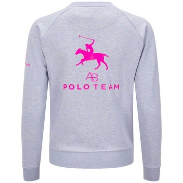 AB Polo sweatshirt - soft blue with hot pink - Annabel Brocks