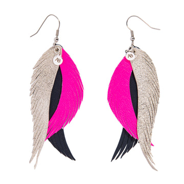 Leather Angel Wings earrings silver, pink & navy - Annabel Brocks