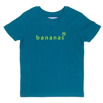 Nourish children's  t-shirt Tropical Blue with Bananas - Annabel Brocks
