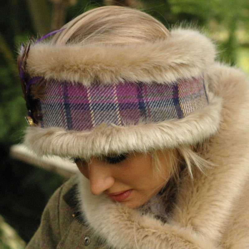 Luxury Beige Faux Fur & Purple Toned Tweed - Annabel Brocks