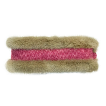 Beige Faux Fur & Fuchsia Herringbone Headwarmer - Annabel Brocks
