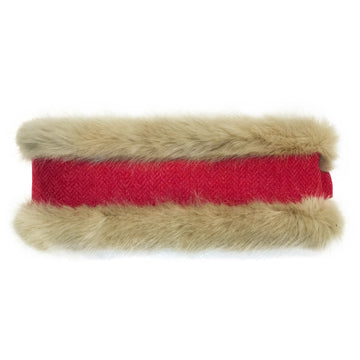 Beige Faux Fur & Raspberry Herringbone Headwarmer - Annabel Brocks