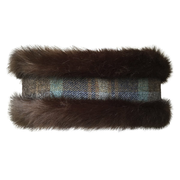 9874cadb54fab ... Faux Fur Brown and Brown Toned Tweed reversible Head Warmer and Neck  Warmer Set - Annabel