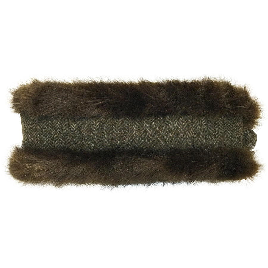 Brown Faux Fur & Brown Herringbone Headwarmer - Annabel Brocks