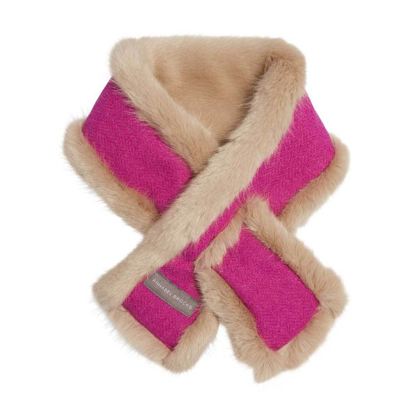Beige and Bubblegum Harris tweed reversible neck-warmer - Annabel Brocks
