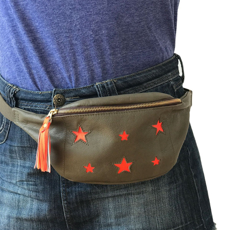Festival star bum bag  - Olive and neon orange - Annabel Brocks