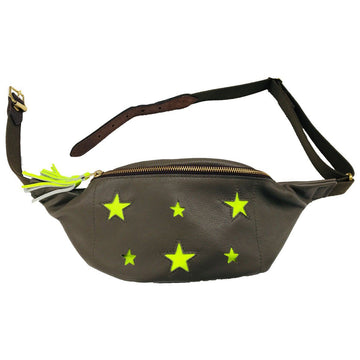 Festival star bum bag  - Olive and neon yellow - Annabel Brocks