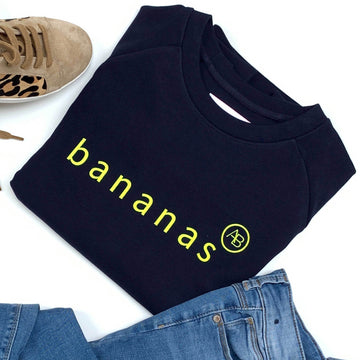 Children's Nourish Sweatshirt - Navy Bananas - Annabel Brocks