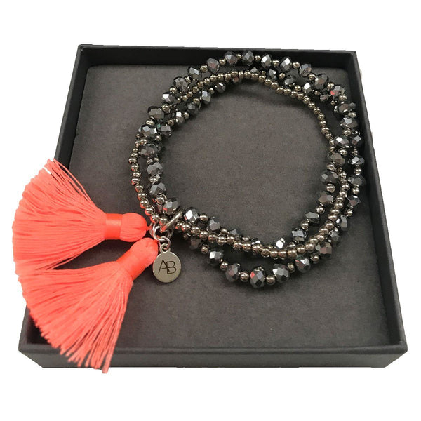 Orange Silk Tassel Bracelet - Annabel Brocks