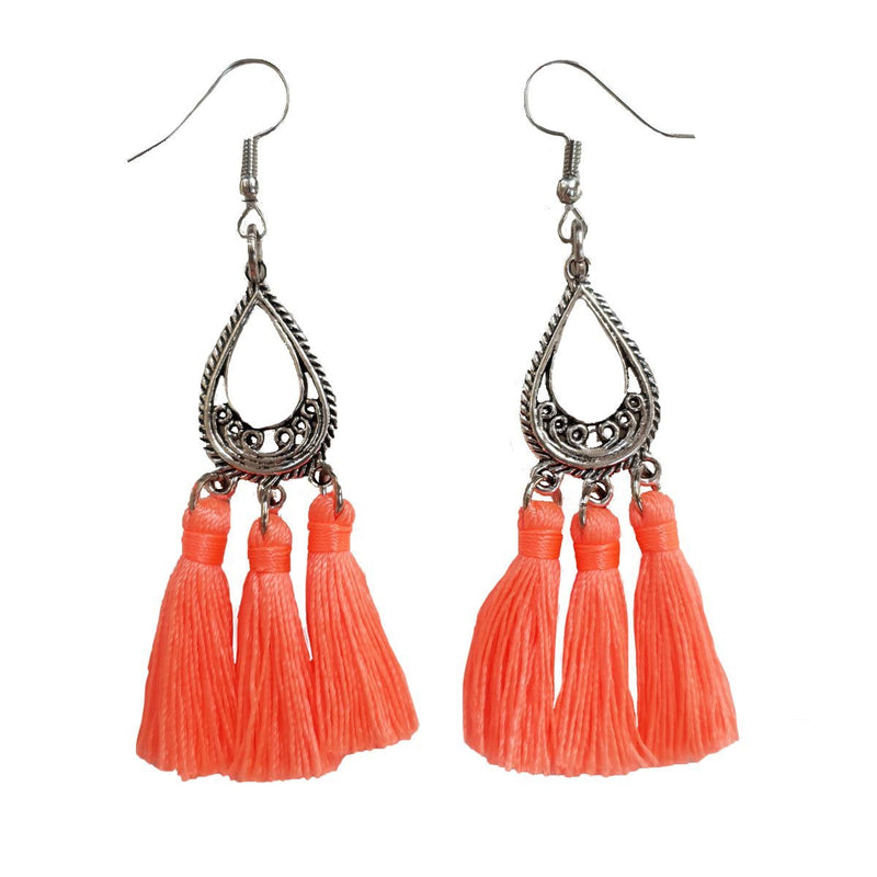 Neon orange/coral Silk Tassel Earrings - Annabel Brocks
