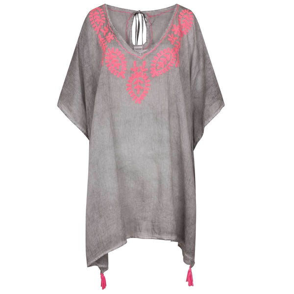Dark grey with pink embroidery - Annabel Brocks