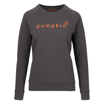 NOURISH SWEATSHIRT - DARK GREY WITH NEON ORANGE PUMPKIN - Annabel Brocks