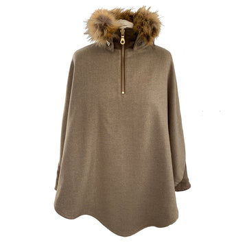 Cashmere and lambswool and Faux Fur Denver cape - Natural - Annabel Brocks