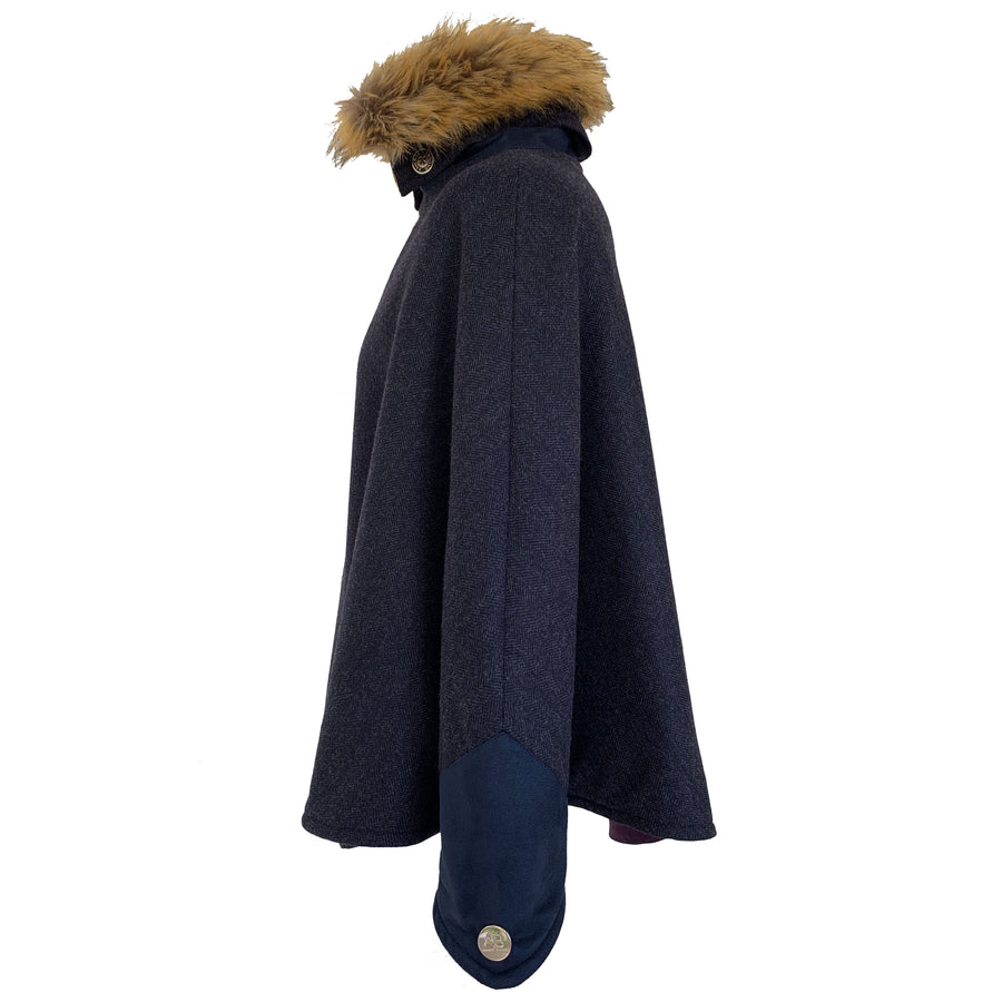 Cashmere and Lambswool and Faux Fur Denver cape - Navy - Annabel Brocks