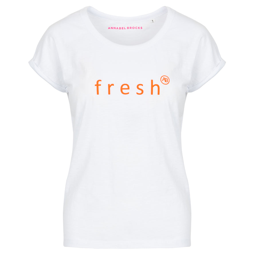 Nourish t-shirt - White with neon orange Fresh - Annabel Brocks