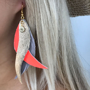 Leather Angel Wings earrings gold, coral & taupe - Annabel Brocks