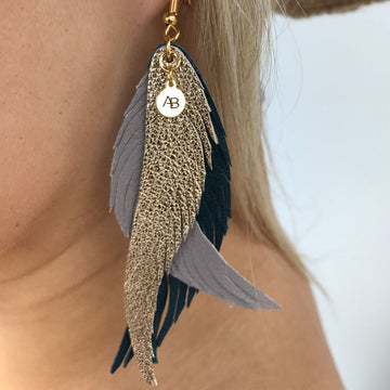 Leather Angel Wings earrings gold, taupe & navy - Annabel Brocks