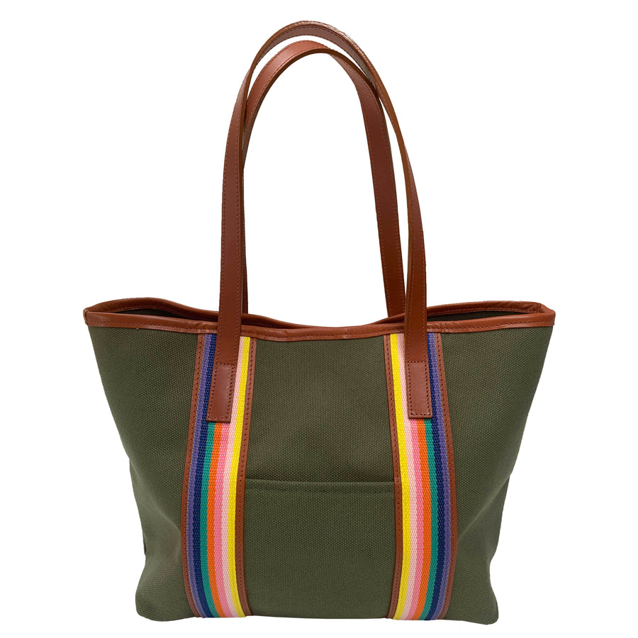 Southwold olive and rainbow canvas tote - Annabel Brocks