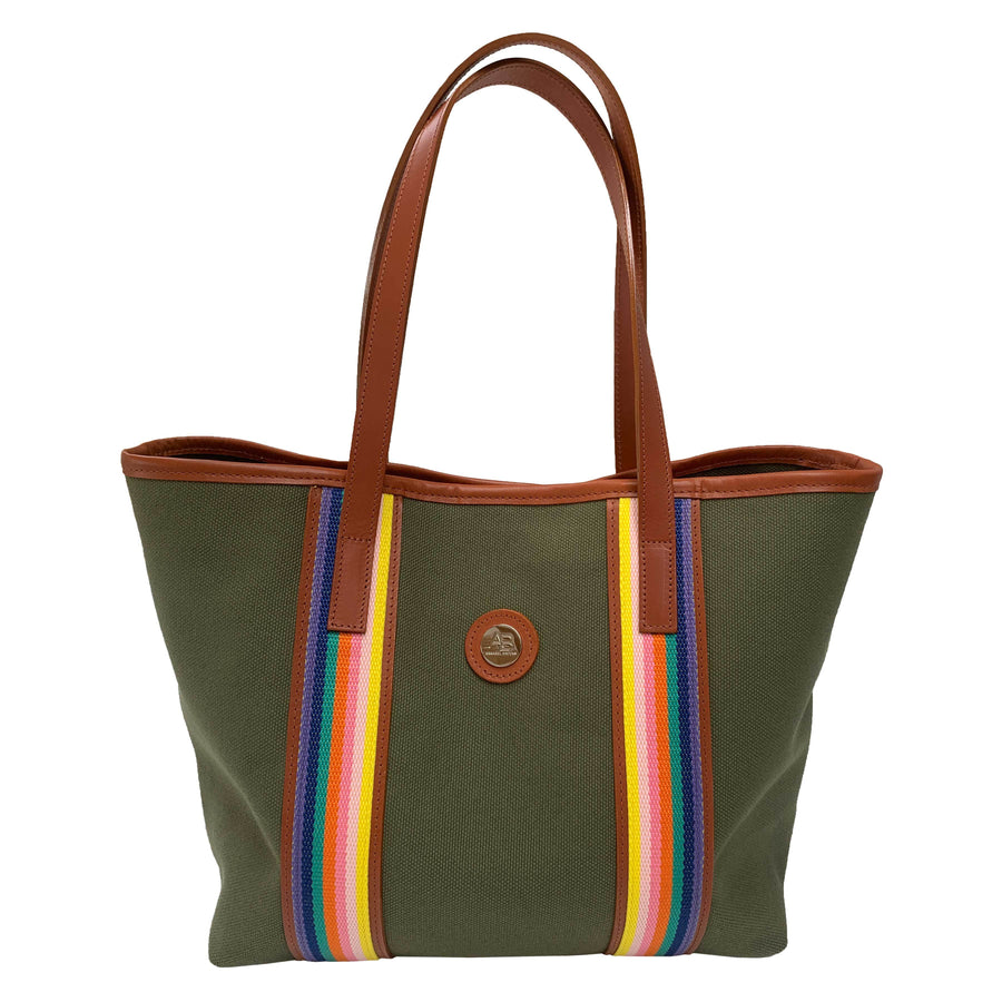 Southwold Rainbow olive and rainbow canvas tote - Limited Edition - Annabel Brocks