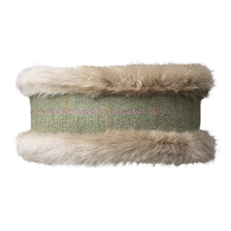 Luxury Beige Faux Fur and Green Tweed with Orange/Pink Stripe