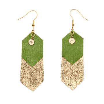 Free Spirit leather earrings green and gold - Annabel Brocks