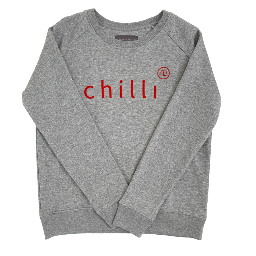 Nourish Sweatshirt - grey with red chilli - Annabel Brocks