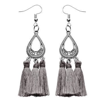 Grey Silk Tassel Earrings - Annabel Brocks