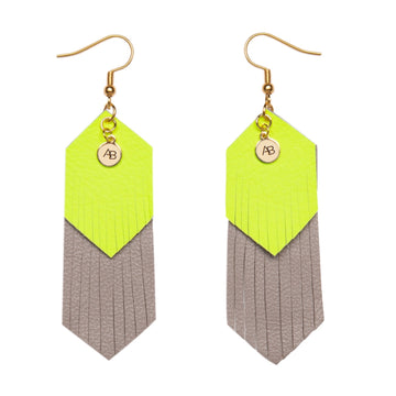 Free Spirit leather earrings neon yellow and grey - Annabel Brocks